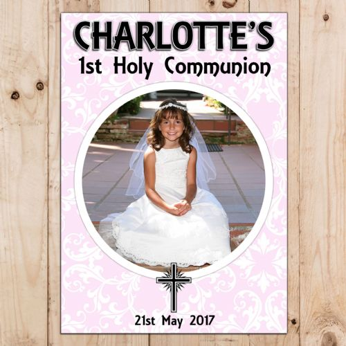 Girls Personalised First Holy Communion Celebration PHOTO Poster Banner N65